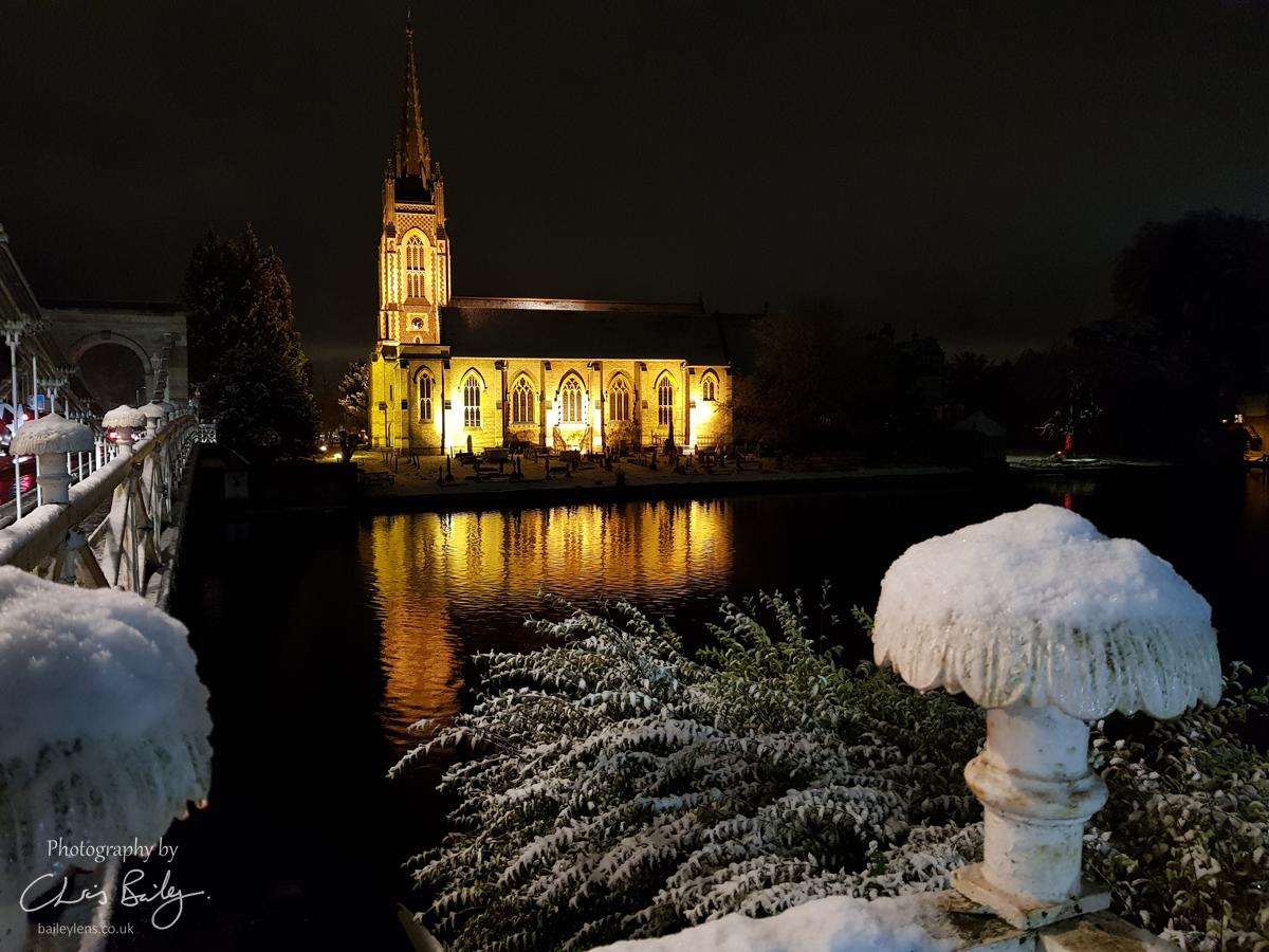 All Saints Church from a snowy Marlow Bridge